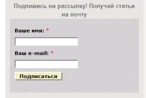 Василий Сенченко, сайт за 12 часов, форма подписки до преобразования